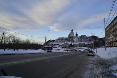 ул.Ленинградская. Вид на строящийся морской храм